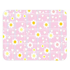 Flower Floral Sunflower Pink Yellow Double Sided Flano Blanket (large)  by Mariart