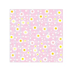Flower Floral Sunflower Pink Yellow Small Satin Scarf (square) by Mariart