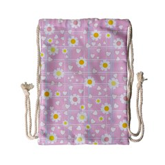 Flower Floral Sunflower Pink Yellow Drawstring Bag (small) by Mariart