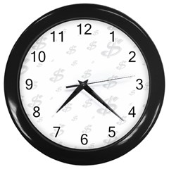 Dollar Sign Transparent Wall Clocks (black) by Mariart