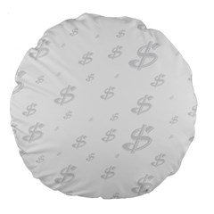 Dollar Sign Transparent Large 18  Premium Round Cushions by Mariart