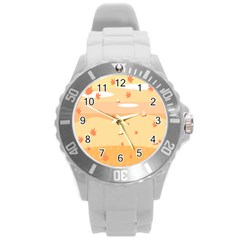 Dragonfly Leaf Orange Round Plastic Sport Watch (l) by Mariart