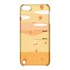 Dragonfly Leaf Orange Apple Ipod Touch 5 Hardshell Case With Stand by Mariart