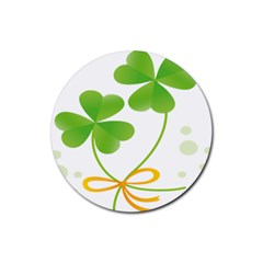 Flower Floralleaf Green Reboon Rubber Coaster (round)  by Mariart