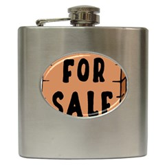 For Sale Sign Black Brown Hip Flask (6 Oz) by Mariart