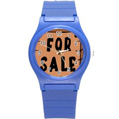 For Sale Sign Black Brown Round Plastic Sport Watch (s) by Mariart