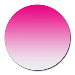 Gradients Pink White Round Mousepads by Mariart