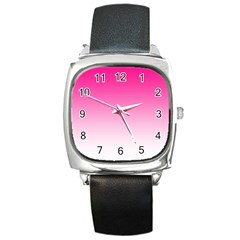 Gradients Pink White Square Metal Watch by Mariart