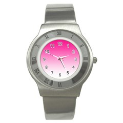 Gradients Pink White Stainless Steel Watch by Mariart