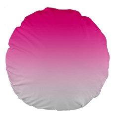 Gradients Pink White Large 18  Premium Flano Round Cushions by Mariart
