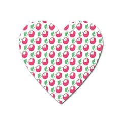 Fruit Pink Green Mangosteen Heart Magnet by Mariart