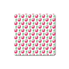Fruit Pink Green Mangosteen Square Magnet by Mariart