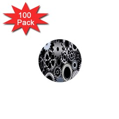 Gears Technology Steel Mechanical Chain Iron 1  Mini Buttons (100 Pack)  by Mariart