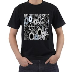 Gears Technology Steel Mechanical Chain Iron Men s T-shirt (black) (two Sided) by Mariart