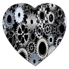 Gears Technology Steel Mechanical Chain Iron Jigsaw Puzzle (heart) by Mariart