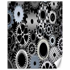 Gears Technology Steel Mechanical Chain Iron Canvas 11  X 14   by Mariart