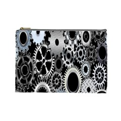 Gears Technology Steel Mechanical Chain Iron Cosmetic Bag (large)  by Mariart
