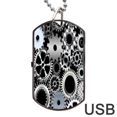 Gears Technology Steel Mechanical Chain Iron Dog Tag Usb Flash (one Side) by Mariart