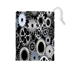Gears Technology Steel Mechanical Chain Iron Drawstring Pouches (large)  by Mariart