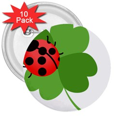 Insect Flower Floral Animals Green Red 3  Buttons (10 Pack)  by Mariart