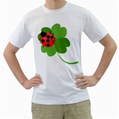 Insect Flower Floral Animals Green Red Men s T Shirt (white) (two Sided) by Mariart