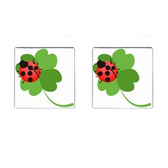 Insect Flower Floral Animals Green Red Cufflinks (square) by Mariart