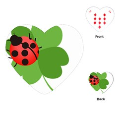 Insect Flower Floral Animals Green Red Playing Cards (heart)  by Mariart