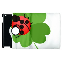 Insect Flower Floral Animals Green Red Apple Ipad 3/4 Flip 360 Case by Mariart