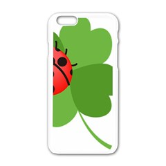 Insect Flower Floral Animals Green Red Apple Iphone 6/6s White Enamel Case