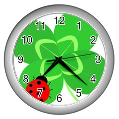 Insect Flower Floral Animals Green Red Line Wall Clocks (silver)  by Mariart