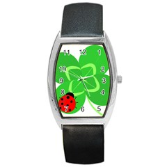 Insect Flower Floral Animals Green Red Line Barrel Style Metal Watch by Mariart