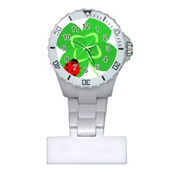 Insect Flower Floral Animals Green Red Line Plastic Nurses Watch by Mariart