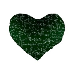 Formula Number Green Board Standard 16  Premium Heart Shape Cushions by Mariart