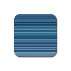Horizontal Line Blue Rubber Coaster (square)  by Mariart