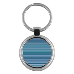 Horizontal Line Blue Key Chains (round)  by Mariart
