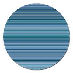 Horizontal Line Blue Magnet 5  (round) by Mariart