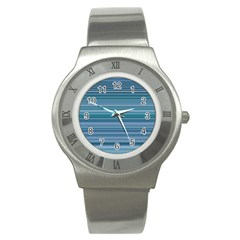 Horizontal Line Blue Stainless Steel Watch