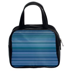Horizontal Line Blue Classic Handbags (2 Sides) by Mariart