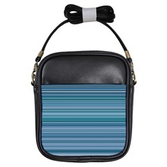 Horizontal Line Blue Girls Sling Bags by Mariart
