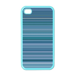 Horizontal Line Blue Apple Iphone 4 Case (color) by Mariart