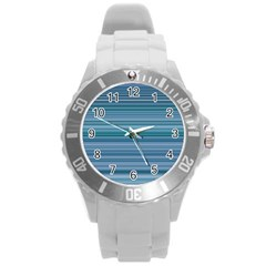 Horizontal Line Blue Round Plastic Sport Watch (l) by Mariart