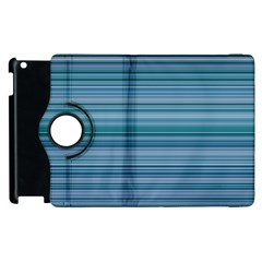 Horizontal Line Blue Apple Ipad 2 Flip 360 Case by Mariart
