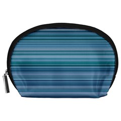 Horizontal Line Blue Accessory Pouches (large)  by Mariart
