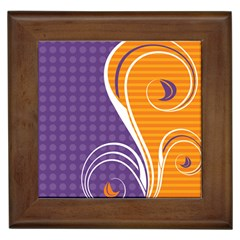 Leaf Polka Dot Purple Orange Framed Tiles by Mariart