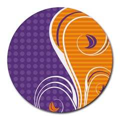 Leaf Polka Dot Purple Orange Round Mousepads by Mariart