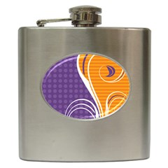 Leaf Polka Dot Purple Orange Hip Flask (6 Oz) by Mariart