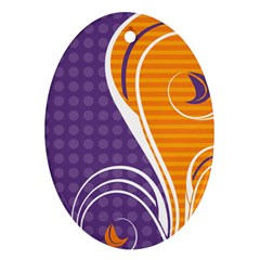 Leaf Polka Dot Purple Orange Oval Ornament (two Sides) by Mariart