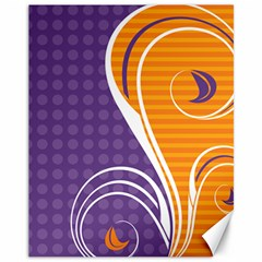 Leaf Polka Dot Purple Orange Canvas 11  X 14   by Mariart