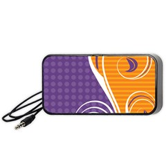 Leaf Polka Dot Purple Orange Portable Speaker (black) by Mariart