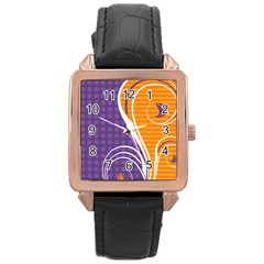 Leaf Polka Dot Purple Orange Rose Gold Leather Watch  by Mariart